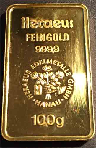 Gold 100g Heraeus