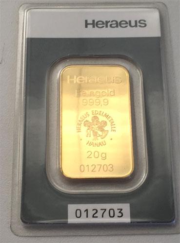 Gold 20g Heraeus
