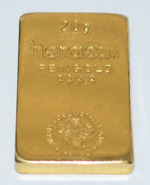 Goldbarren-historisch-20-Gramm-Heraeus