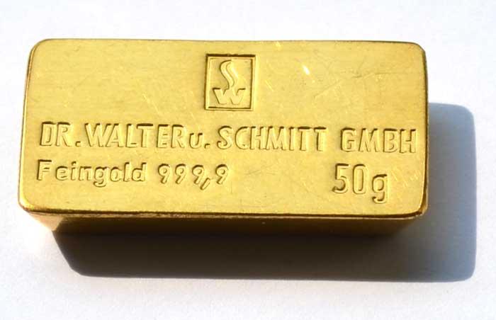 Goldbarren-50-Gramm- Dr.Walter&Schmitt