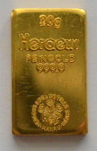 Heraeus-Goldbarren-historisch-20-Gramm
