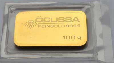 OEGUSSA-100-GRAMM-GOLDBARREN