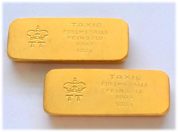 Taxis-Goldbarren-historisch-100g