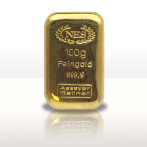 Goldbarren Hamburg Norddeutsche-ES, gegossen-100g-Feingold-9999