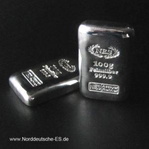 Norddeutsche-ES-100g-Silberbarren-9999
