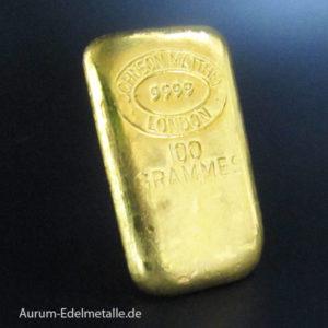 Goldbarren-100g-Johnson-Matthey